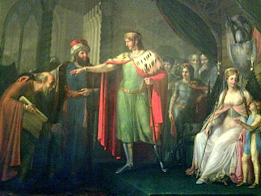 Costantino l'Africano viene presentato alla corte di Roberto il Guiscardo e Sichelgaita di Salerno (Pietro Diacono, De viris illustribus archimonasterii Casinensis)