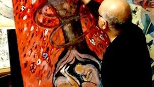 il-maestro-caporale-mentre-dipinge-lopera-dedicata-ad-adele-bruno