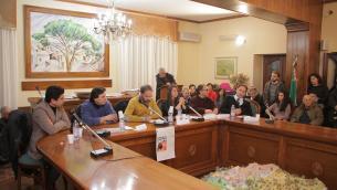 Da sinistra, nella foto di Giulio Greco, Luigi Pandolfi, Claudio Di Benedetto, Vincenzo Marino, Rossella Tallerico, Mario Occhinero e Michele Merante