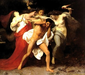 Oreste inseguito dalle Erinni Il rimorso di Oreste opera di William-Adolphe Bouguereau – 1862.