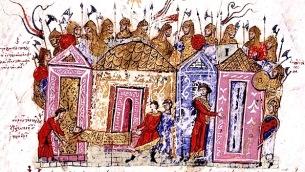 Le guardie variaghe, immagine tratta dal manoscritto di Madrid Skylitzis (XII secolo)