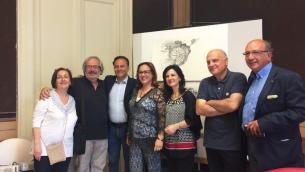 Presentazione del Premio Nautilus 2 giugno 2017. Da sinistra Annamaria Persico, Federico Arcuri, Antonio Cannone, Saveria Gigliotti, Antonio Caporale, Santino Pascuzzi