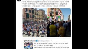 Salvini vs Letta, botta e risposta Twitter sul comizio Pd
