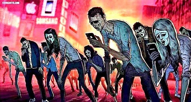 "Illustrazione di Steve Cutts sulla generazione di ""Smartphone-zombies"""
